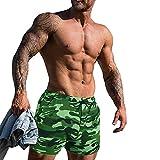 Shorts D'entraînement pour Hommes Entrejambe 4 Pouces Slim Fit Extensible 95% Coton éponge 5% élasthanne pour La Course à Pied, La Musculation, Le Sport Color Camo Green Size M