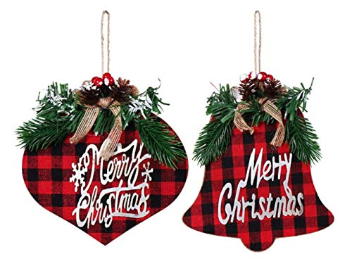 S&C Gifts Buffalo Check Bell & Final Wood Ornaments with Galvanized Metal, Merry Christmas Camp Cabin Lodge Decor