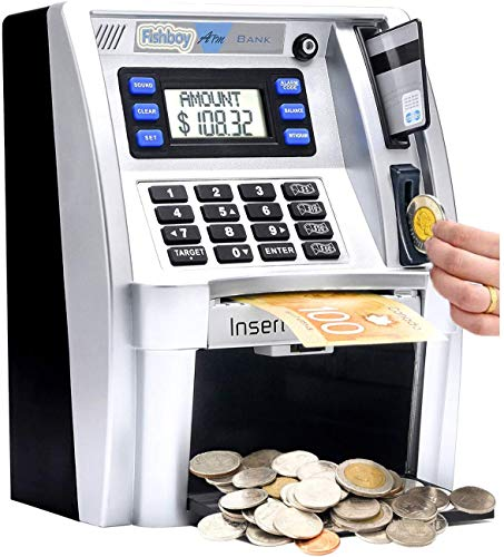 Canadian Dollars ATM Savings Piggy Money Bank Machine with Coins Identification for Kids,Electronic Digital Coin Bank Box with Code Password Lock