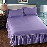 L Bettzeug 3-Teilige Solid-Farbe Bett Rock Bett Deckel Bett Rock Cotton SAMT Dicken Bett Rock-Druck...