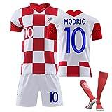 PGOTYY Uniforme De Camiseta De Fútbol De Croacia para Hombre, 2020~21 Traje De Camisetas De Local/Visitante, 10# Modric 17# Mandzukic 7# Rakitić, Regalo, Conjunto De Home10-XXL