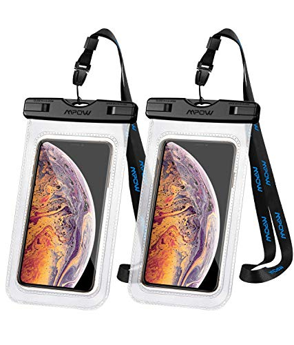 Mpow 097 Handytasche Wasserdicht 2 Stück, DOPPELT VERSIEGELT, Wasserdichte Handyhülle, Staubdicht für iPhone 11/iPhone X/XR/XS/XS MAX/8/7/Galaxy S10/S9/S8/S7/Mate 20/P30/P20/P10 bis 6, 5 Zoll