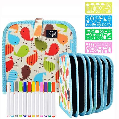 Tabla de Dibujo Portátil para Niños, Doodle Juguetes de Dibujo para Niños con 12 Plumas de colores Aprendizaje Temprano Educación Graffiti Estera de Dibujo, Reutilizable Lavable (Dibujo Portát