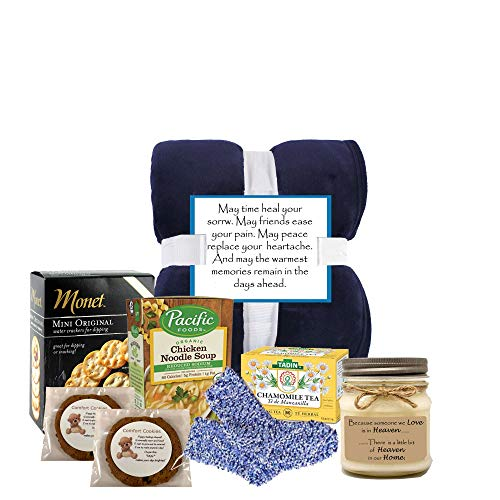 Free 1-3 Day Shipping - Heartfelt Sympathy Gift Baskets with Cozy Blanket for Loss of Loved Ones.