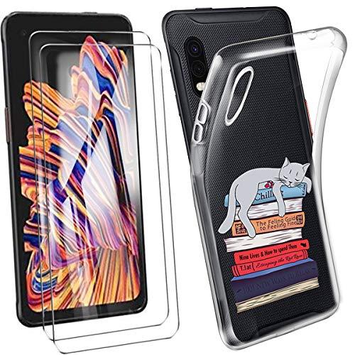 HYMY Hülle für Samsung Galaxy Xcover Pro + 2 x Schutzfolie Panzerglas - Transparent Schutzhülle TPU Handytasche Tasche Durchsichtig Klar Silikon Hülle für Samsung Galaxy Xcover Pro (6.3