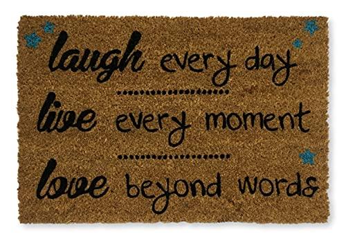 KOKO DOORMATS felpudos Entrada casa Originales, Fibra de Coco y PVC, Felpudo Exterior, Laugh Live Love, 40x60x1.5 cm | Alfombra Puerta Entrada casa Exterior | Felpudos Divertidos para Puerta