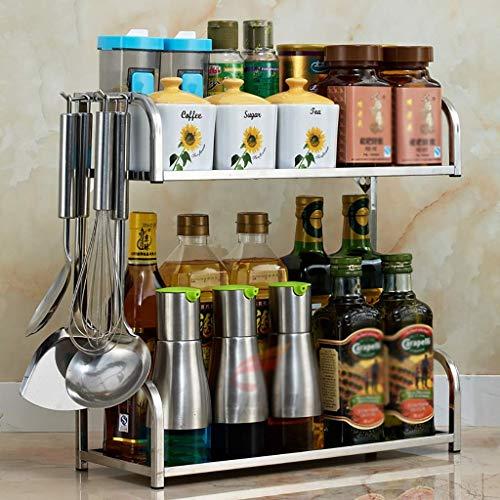 KFDQ Household Kitchen Storage Shelf,2 Layer 304 Stainless Steel Kitchen Seasoning Shelf, Wall Mountable Desktop Storage Rack, 3 Sizes,40×16×40cm