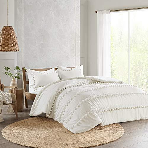 Elly King/California King 3pc Pom Pom Cotton Comforter Set Ivory