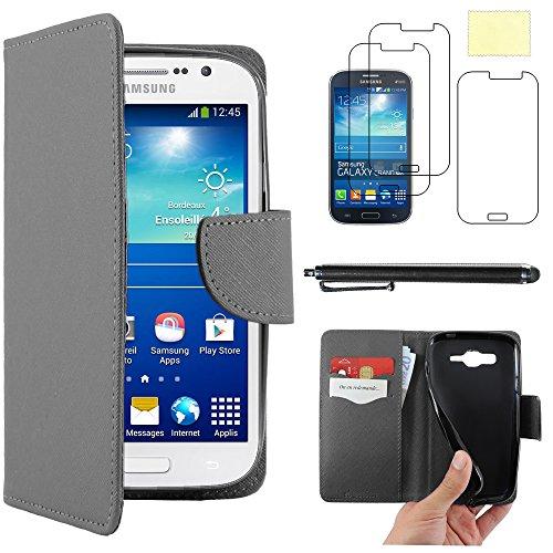 """ebestStar - Coque Compatible avec Samsung Grand Plus Galaxy GT-i9060I, Grand Lite Etui PU Cuir Housse Portefeuille Porte-Cartes Support +Stylet +3 Films d'écran, Noir [Appareil: 143x77.1x9.6mm 5.0""""]"""