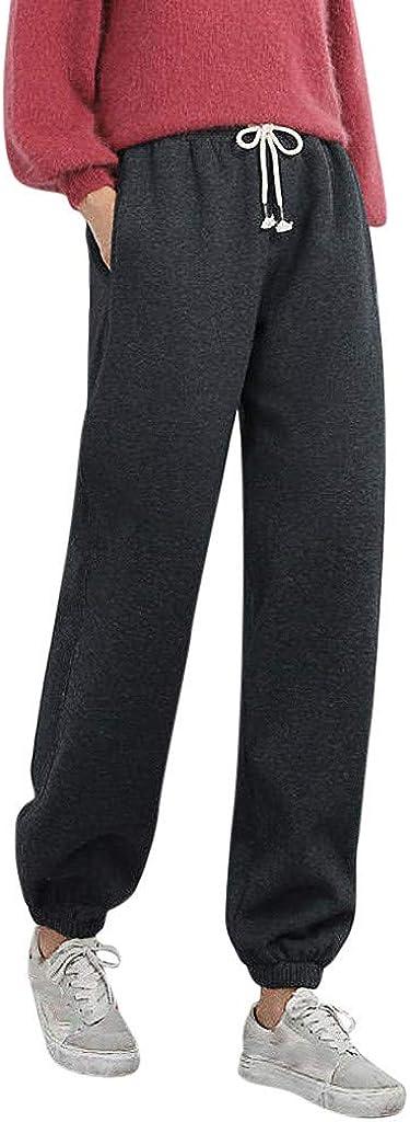 FUNEY Fleece Lined Cotton Sweatpants Cozy Joggers Pants,Women's Casual Solid Color Cashmere Pocket Sports Long Pants