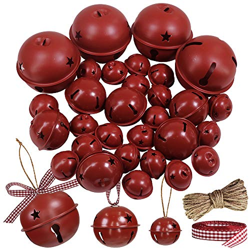 Winlyn 30 Pcs Burgundy Jingle Bells with Star Cutouts Christmas Metal Sleigh Bells Rustic Craft Bells for Christmas Tree Wreath Garland Ornaments Holiday DIY Decorations Assorted Sizes 1.6' 2.4' 3.5'
