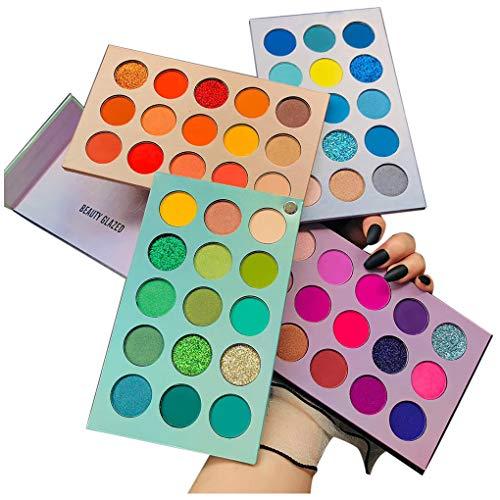 Beauty Glazed 60 Farben Lidschatten Palette Bunt Nudetöne Regenbogen Colour Board Schminkpalette Set Matt Schimmern Pigmentierter Bunte Glitzerfarbe Makeup Professionelles Eyeshadow Cosmetics
