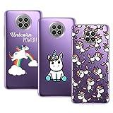 Young & Min Funda para Xiaomi Redmi Note 9T 5G, (3 Pack) Transparente TPU Carcasa Delgado Anti-Choques con Dibujo de Unicornio