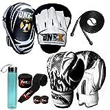 ONEX Set De Boxe Enfant Gants D'entraînement Et Professionnels Enfants Concentrer Pad Combat Frappe Sac Junior Focus Pad MMA Sport Cuir Synthétique Boxing Gloves 6oz (Noir)