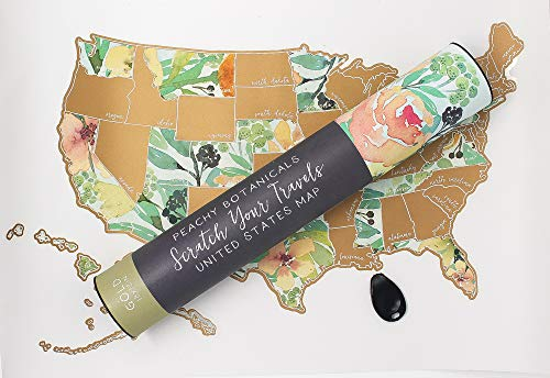Jetsetter Maps Scratch Your Travels Peachy Botanicals Watercolor Floral USA Map (Gold)