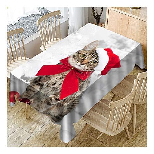 ZHAOXIANGXIANG Nappe De Noël Polyester Antifouling Imperméable Imprimé Numérique Tapis De Table Création Décor Élégant Accueil Cartoon Christmas Cat Pattern,60X60Cm