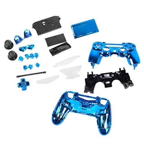 FLAMEER Controller Full Shell Kits Ersatz Cover Case Skin Modding Chrome Hülle für Sony PS4 Controller - Blau