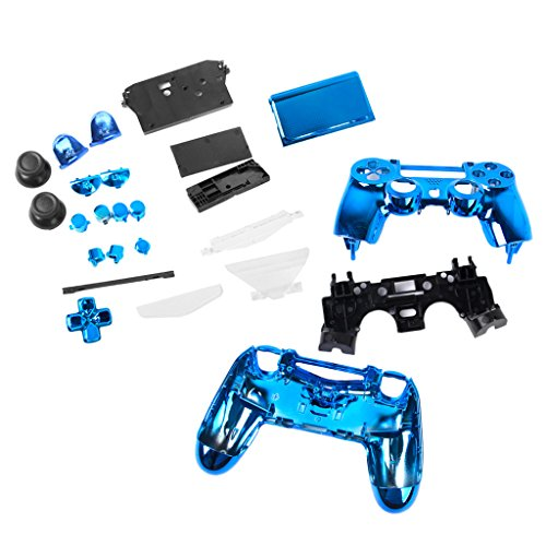 FLAMEER Controller Full Shell Kits Ersatz Cover Case Skin Modding Chrome Hülle für Sony PS4 Controller - Blau