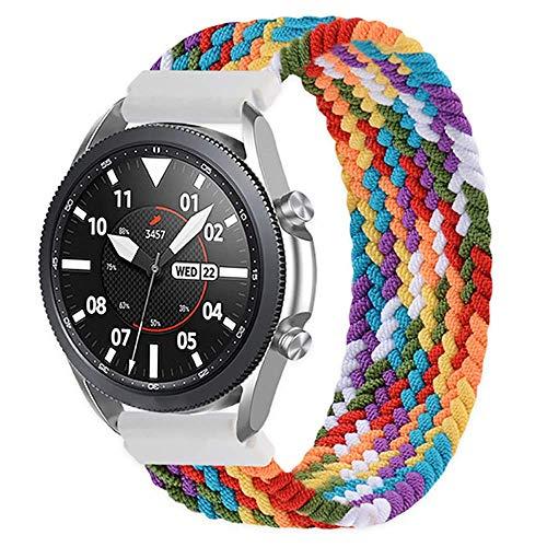 20mm Braided Solo Loop Compatible para Galaxy Watch Active 40mm R500/Galaxy Watch Active 2 40mm 44mm Pulsera de nailon trenzado de tela elástica para Galaxy Watch 42mm Correa