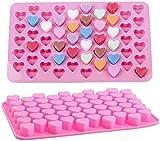 LHY Molde de Silicona 2 Piezas 55 Agujeros Forma de corazón Moldes de Silicona Adecuados para Fiesta Party Pastel Decoración Hornear Jelly Hielo Cubo Molde Hermosa