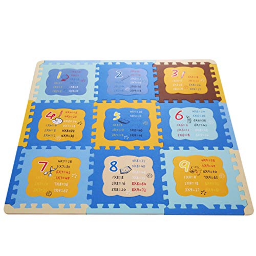 Table De Multiplication Pad De Mousse Pad Puzzle Épaississement Bébé Tapis Rampant Tapis De Bande Dessinée De La Bande Dessinée Environnementale Tapis D'escalade (9 Pièces)