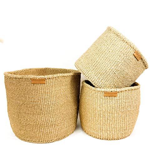Nkatas Sisal-Pflanzkorb, 25,4 cm Bodendurchmesser und 25,4 cm Höhe, erhältlich in zwei Größen, Naturfarbe, Übertopf für den Innenbereich, Aufbewahrungs-Organizer