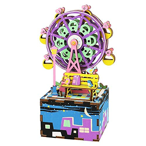 ROBOTIME DIY Craftable Music Box Set, Build Your Own 3D Wood Puzzle, Ferris Wheel, Plays Song - Castle In The Sky