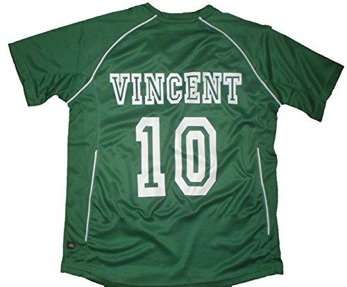 PATOUTATIS - t-Shirt - Maillot Foot personnalisé avec prénom et numéro de Votre Choix - Manches Courtes col V - JN386K - Vert - Enfant Taille XXL - 158/164 cm