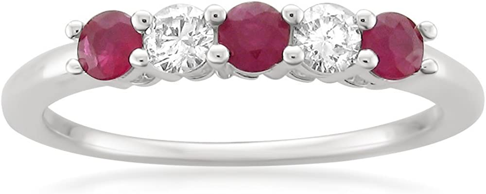 1/2 Carat Diamond, Prong-Set 14K White Gold Bridal Wedding Band Ring (H-I, I1) by La4ve Diamonds | Real Diamond Jewelry For Women |Gift Box Included (Round Diamond with Blue Sapphire & Ruby)