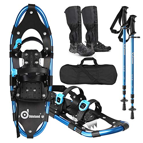 Odoland 4-in-1 Snowshoes Snow Shoes for Men and Women with Trekking Poles, Carrying Tote Bag and Waterproof Snow Leg Gaiters, Lightweight Aluminum Alloy Snow Shoes, Blue, Size 21''