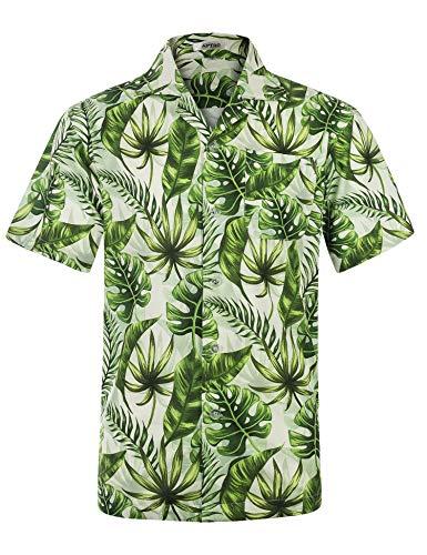 APTRO Herren Hemd Strandhemd Hawaiihemd Kurzarm Urlaub Hemd Freizeit Reise Hemd Party Hemd, Grün, 3XL