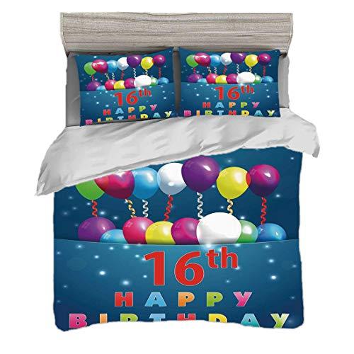 Funda nórdica Tamaño King (200 x 200 cm) con 2 fundas de almohada Decoraciones De 16 Años Juegos de cama de microfibra Imagen de celebración de kitsch Sweet Sixteen Teenage Party Globos,multicolor Eas