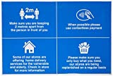 Señal de tienda, distancia social, stock, entrega local, pago sin contacto