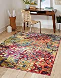 Unique Loom Jardin Collection Colorful, Vibrant, Abstract, Modern Area Rug, 5' 0 x 8' 0 Rectangular, Multi/Blue