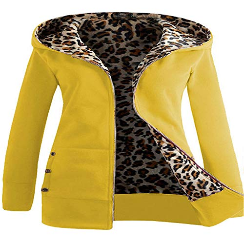 Hhckhxww OtoñO E Invierno SuéTer con Estampado De Leopardo Grueso con Capucha MáS Abrigo De Terciopelo De Talla Grande Ropa De Mujer