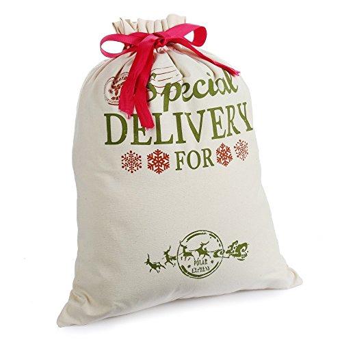"""Personalisierte Weihnachten Tasche Weihnachtsmann sack für geschenk mit tunnelzug klein mittel 14,4 """"x 18,9"""" zu strümpfe stopft deko partygeschenke (mittel)"""