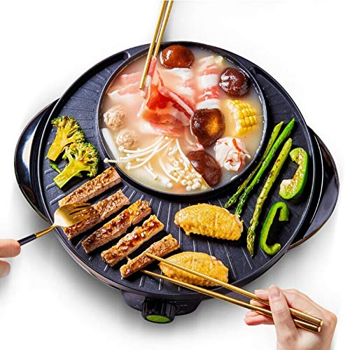 LY1 Barbacoa Hot Pot 1600W Doble eléctrica hogar asado Olla Caliente Barbacoa Multifuncional, Sartén Antiadherente Gran Capacidad de Limpieza fácil, para 2-10 Personas Grill