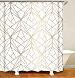 MundW DAS DESIGN Duschvorhang Gold Linie Dreiecke Badezimmer Textil Vorhang Antischimmel Effekt waschbar Shower Curtain 12 C-Ringe Gewicht unten 180x200(B*H) cm
