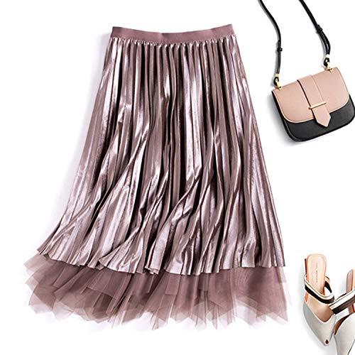First Ring Reversible Velvet Tulle Long Skirts Women Fashion High Waist Pleated Skirt Female Elegant Skirt