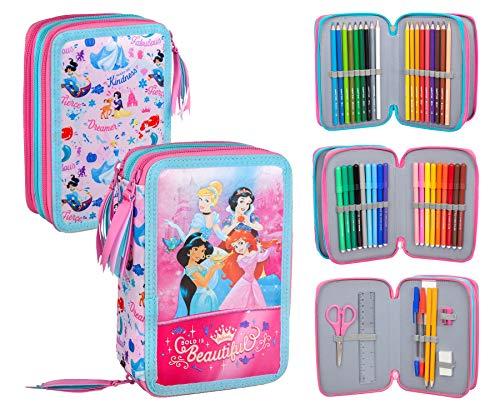 Princesas Disney - Estuche triple relleno, 44 accesorios escolares, 20 centímetros