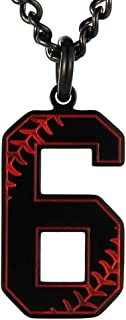 HZMAN Baseball Initial Pendant Necklace Inspiration Baseball Jersey Number 0-9 Charms Stainless Steel Necklace