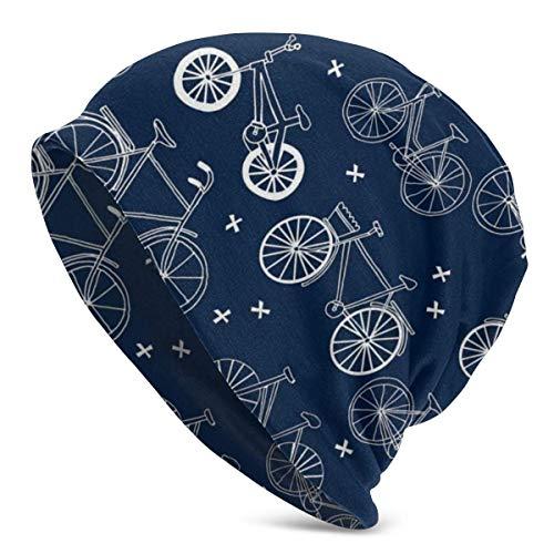 GOSMAO Hand gezeichnete dunkelblaue Kinderfahrräder Fahrräder Unisex Strickmütze für Erwachsene Winter Sommer Slouchy Beanie Skull Cap