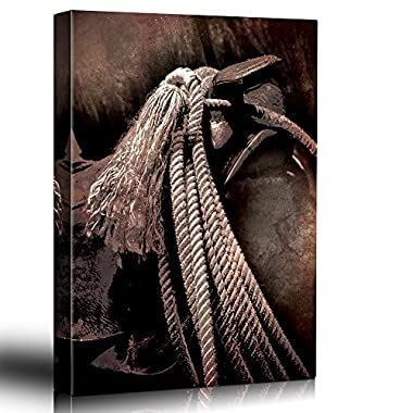 Wall26 - Vintage Styled Close Up of the Ropes on a Saddle - Canvas Art Home Decor - 16x24 inches