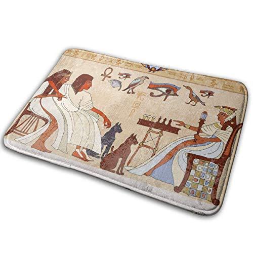 Alfombra de arte de pared del antiguo Egipto, alfombra de entrada duradera, felpudos fáciles de limpiar para interiores y exteriores, alfombra de bienvenida gruesa para patio, garaje, entradas, puerta