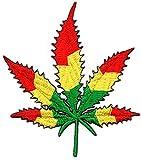 Parche bordado de hoja de marihuana, hoja de cannabis, Bob Marley Reggae Rasta para planchar o coser