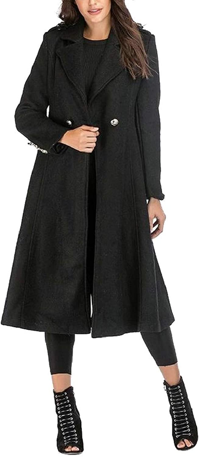 QDCACA Women's Stylish Overcoat Wool Blend Slim Fit Two Button Maxi Trench Coat