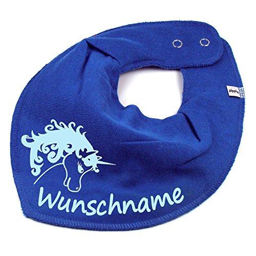 Elefantasie Elefantasie HALSTUCH Einhorn mit Namen oder Text personalisiert mittelblau für Baby oder Kind