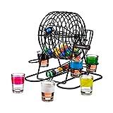 Relaxdays Juego para Beber Bingo, 6 Vasos de Chupito, Manivela y 48 Bolas, Metal y Plástico, 19 x 20 x 20 cm, Multicolor, Adultos Unisex
