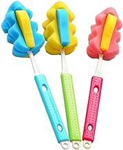 Chinashow Multifunction Sponge Water Bottle Brush Set - 3 Pcs Water Bottle Clean Brushes Dish Brushes Cute Baby Bottle Cleaners(Color Random)