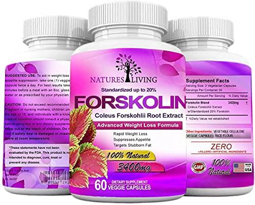 Forskolin 100% Pure Extra Strength 3400mg (60 Veggie Capsules) for Weight Loss. Natural Diet Pills Targets Stubborn Fat for Women & Men w/20% Standardized Coleus Forskohlii Root Extract